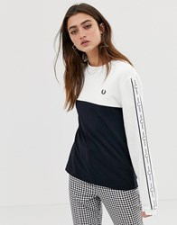 Fred Perry Taped Long Sleeve T Shirt White
