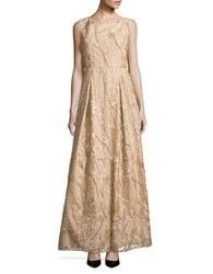 Karl Lagerfeld Embroidered Floral A Line Gown Champagne