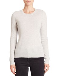 Lord And Taylor Petite Cashmere Pullover Sweater Light Grey Heather