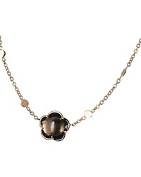 Pasquale Bruni 18K Rose Gold Floral Smoky Quartz Pendant Necklace 16 Rose Brown