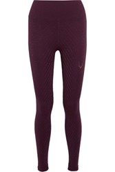 Lucas Hugh Stardust Metallic Stretch Jersey Leggings Plum