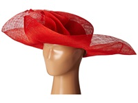 Scala Sinamay Split Brim With Flower And Feather Trim Red Caps