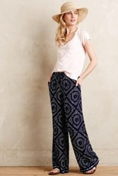 Anthropologie Cafe Wide Legs Blue Motif