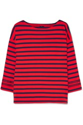 J.Crew Grosgrain Trimmed Striped Cotton Jersey Top Red