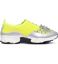 Carvela Lola Sequined Mesh Trainers Yellow