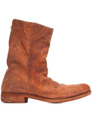 A Diciannoveventitre Double Zipper Boots Brown