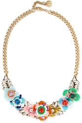 Shourouk Rosa Gold Tone Crystal And Sequin Necklace Red