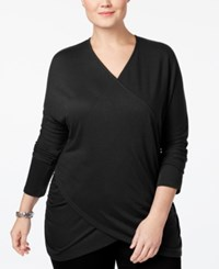 Inc International Concepts Plus Size Draped Crossover Tunic Top Only At Macy's Deep Black