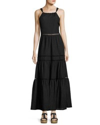 Rebecca Taylor Sleeveless Textured Maxi Dress Black
