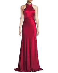 Catherine Deane Kin Satin Halter Gown W Open Back Red