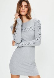 Missguided Grey Lace Up Detail Ribbed Bodycon Sweater Dress