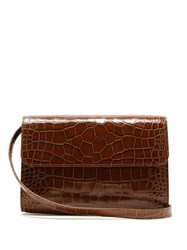 By Far Crossover Crocodile Effect Leather Shoulder Bag Brown