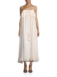 See By Chloe Ruffled Silk Maxi Dress Pale Pink