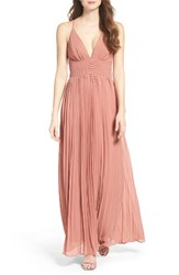 Lulus Women's Plunging V Neck Pleat Georgette Gown Rusty Rose