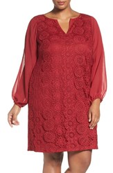 Adrianna Papell Plus Size Women's Slit Sleeve Lace Shift Dress Matador Red