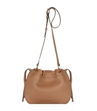 Burberry Shoes And Accessories Small Grain Leather Drawstring Bag Female Tan