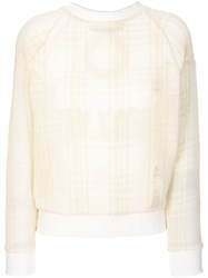 Mr And Mrs Italy Embroidered Tartan Mesh Sweatshirt Nude And Neutrals