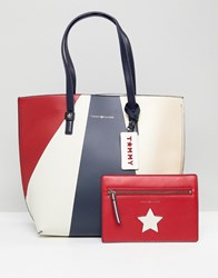 Tommy Hilfiger Multi Tote Bag With Pouch Geo Metallic