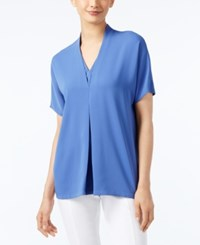 Alfani Short Sleeve V Neck Blouse Only At Macy's Alf Pery Blue