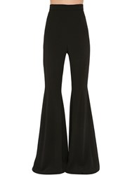 Balmain High Waist Flared Crepe Pants Black