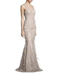David Meister Metallic Embroidered Lace And Feather Gown