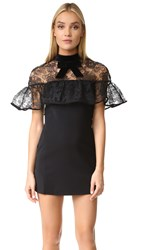 Self Portrait Line Lace Mini Dress Black
