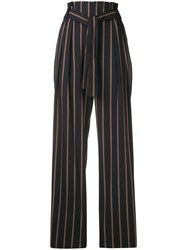 Vince Striped Belted High Waist Trousers Blue