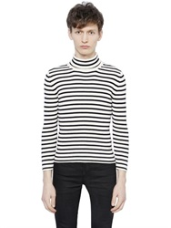 Saint Laurent Striped Cotton And Wool Turtleneck Sweater
