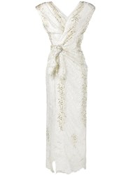 Alessandra Rich Padded Shoulder Lace Gown White