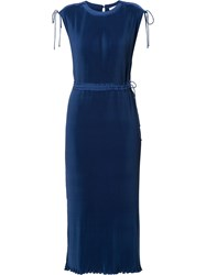 Ck Calvin Klein Fluid Pleated Dress Blue