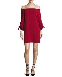 Tibi Cold Shoulder Tie Sleeve Crepe Mini Dress Crimson Red
