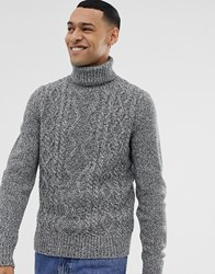 Pier One Cable Knit Jumper With Roll Neck In Grey