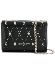 Versace Jeans Studded Chain Crossbody Bag Black
