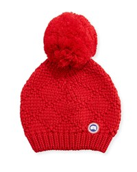 Canada Goose Oversized Wool Pompom Beanie Hat Red