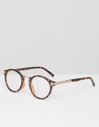 Asos Vintage Round Clear Lens Glasses In Tort Tort Brown