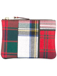 Comme Des Garcons Wallet Tartan Pouch Red
