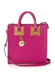 Sophie Hulme Square Albion Leather Tote Pink
