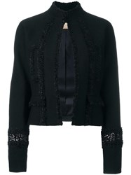 Pascal Millet Sequin Embellished Cropped Jacket Black