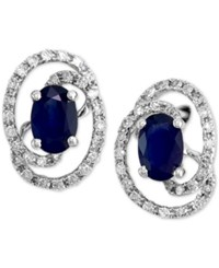Effy Final Call Sapphire 1 1 8 Ct. T.W. And Diamond 1 4 Ct. T.W. Stud Earrings In 14K White Gold Blue