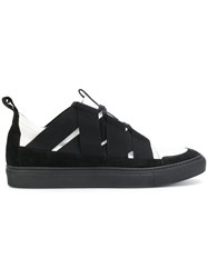 Damir Doma Strap Detail Sneakers Cotton Calf Leather Leather Rubber Black