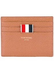 Thom Browne Striped Detail Cardholder Men Leather One Size Brown