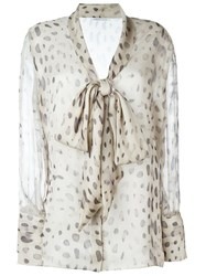 Agnona Sheer Printed Pussy Bow Blouse Nude And Neutrals