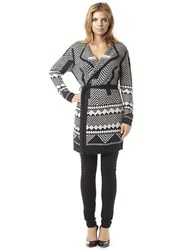Buffalo David Bitton Brea Geo Knit Wrap Cardigan Black Ivory