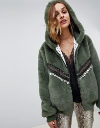 Native Rose Oversized Faux Fur Bomber With Hood And Embellishment Detail Green
