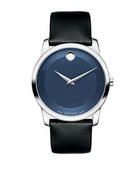 Movado Mens Museum Classic Silvertone And Leather Watch Black