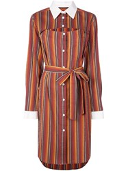 Rosie Assoulin Striped Shirt Dress Orange