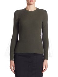 Moschino Wool Tulle Zip Pullover Army Green Grey