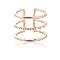 Astrid And Miyu Triple Bewitched Ring In Rose Gold