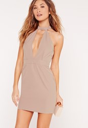 Missguided Plunge High Neck Cut Out Bodycon Dress Mauve Grey