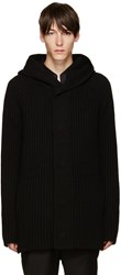 Helmut Lang Black Wool Hooded Cardigan